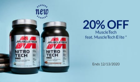 20% Off MuscleTech Feat. MuscleTech Elite from The Vitamin Shoppe