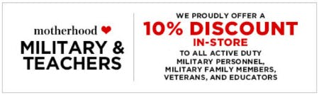 Military & Teachers 10% Discount from Motherhood Maternity
