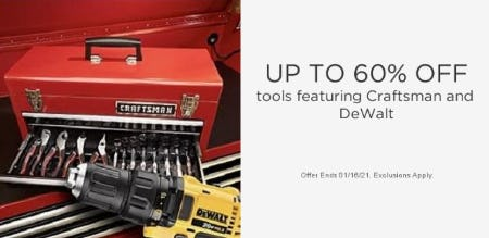 Up to 60% Off Tools from Sears