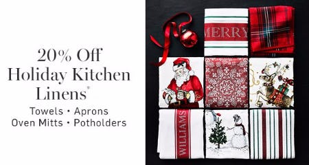 20% Off Holiday Kitchen Linens