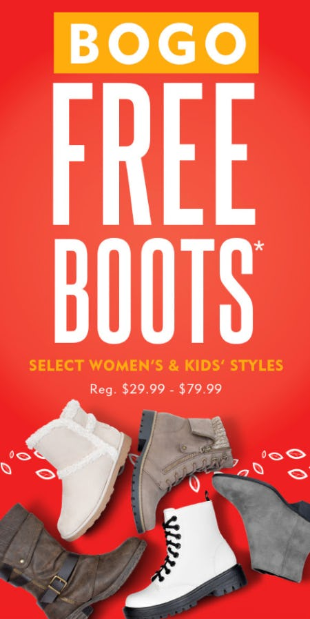 BOGO Free Boots on Select Women's & Kids' Styles. from Shoe Carnival