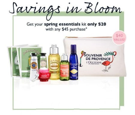 Spring Essentials Kit for $20 With Any $45 Purchase from L'Occitane
