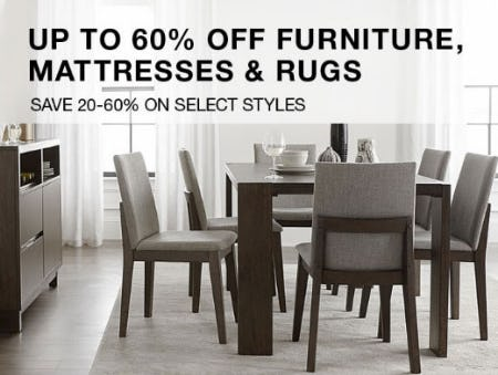 Up to 60% Off Furniture, Mattresses & Rugs
