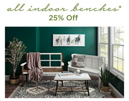 All Indoor Benches 25% Off from Kirkland's Home