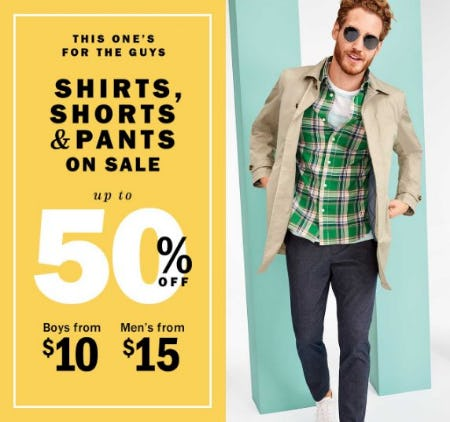 Up to 50% Off Men's and Boys Shirts, Shorts & Pants from Old Navy