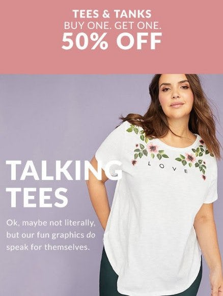 Tees & Tanks Buy One, Get One 50% Off from Lane Bryant