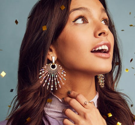 Fabia Gold Statement Earrings In Smoky Mix from Kendra Scott