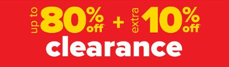 Up to 80% Off + Extra 10% Off Clearance