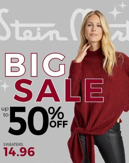 Up to 50% Off Sweaters from Stein Mart