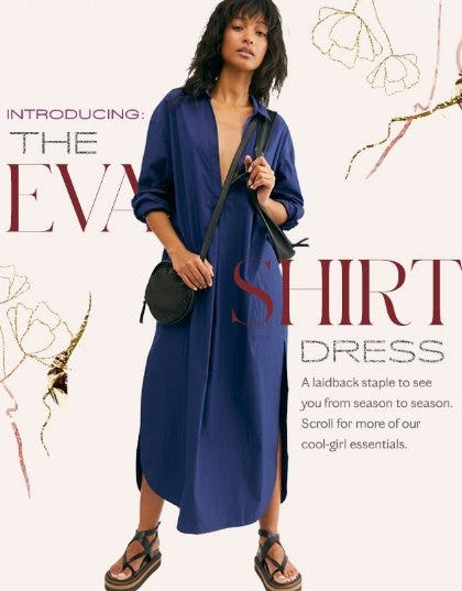 Introducing the Eva Shirt Dress from Free People