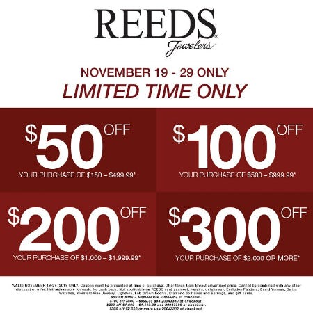 Up to $300 Off Your Purchase of $2,00 or More from Reeds Jewelers
