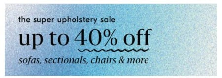 The Super Upholstery Sale: Up to 40% Off from West Elm