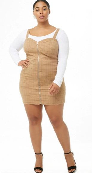 Plus Size Grid Pinafore Dress