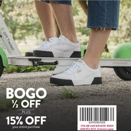 Famous Footwear 15% Off  + BOGO 1/2 Off Back to School Offer
