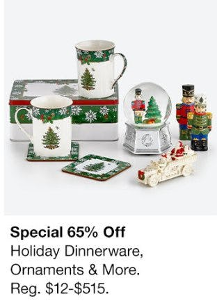65% Off Holiday Dinnerware, Ornaments & More