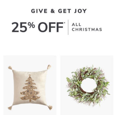25% Off All Christmas from Pier 1 Imports
