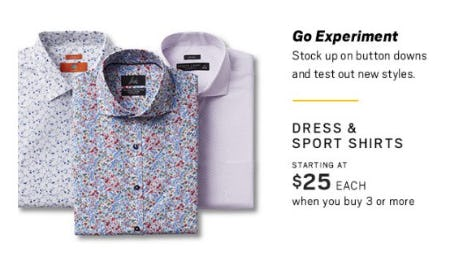 Dress & Sport Shirts Starting at $25 Each when you Buy 3 or More from Men's Wearhouse
