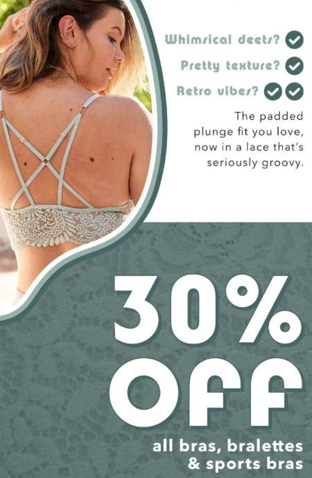 30% Off All Bras, Bralettes & Sports Bras