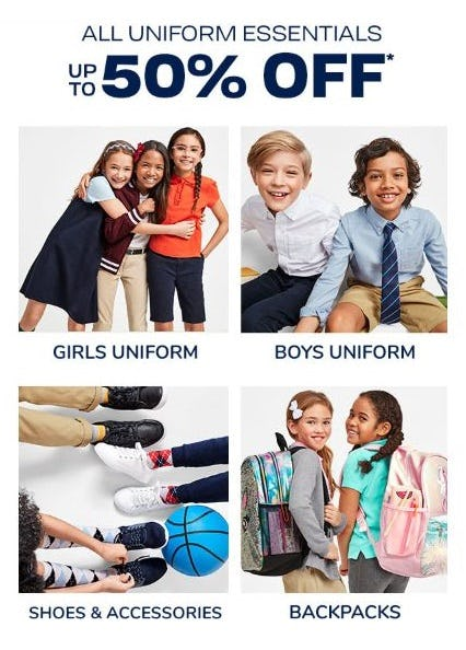 All Uniform Essentials up to 50% Off from The Children's Place