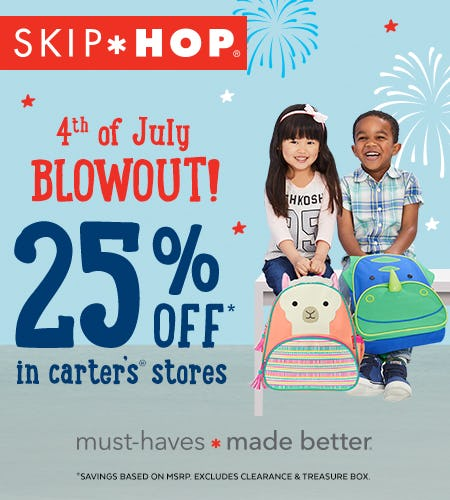 Skip Hop: 4th Of July Blowout! 25% Off In Carters Stores from Carter's Oshkosh