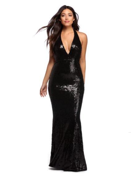 Blair Black Sequin Chain Halter Dress