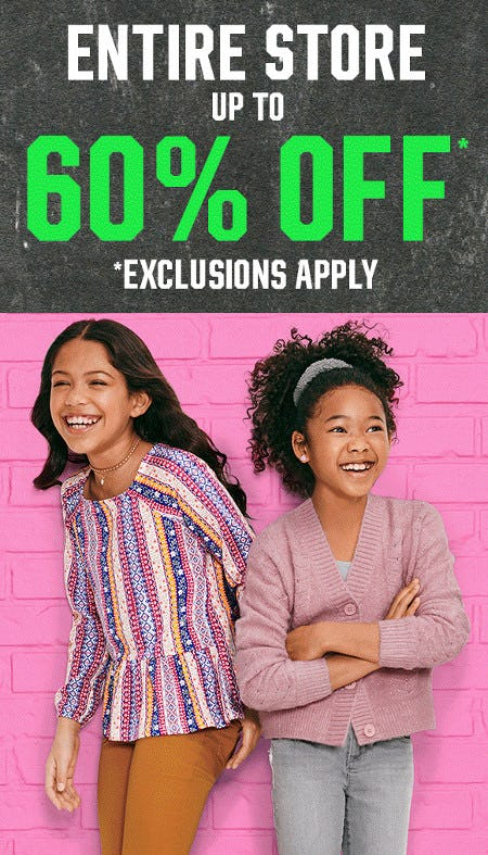Entire Store Up to 60% Off