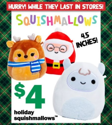 $4 Holiday Squishmallows from Five Below