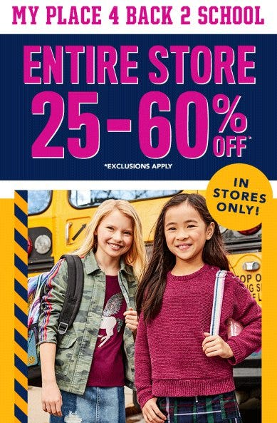 Entire Store 25-60% Off from The Children's Place