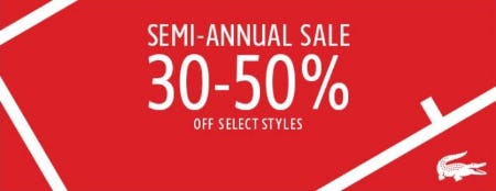 Semi-annual Sale 30–50% Off from Lacoste