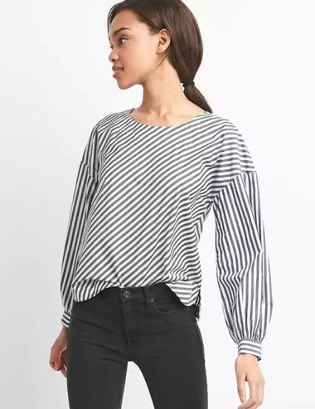 Stripe Button-Back Top