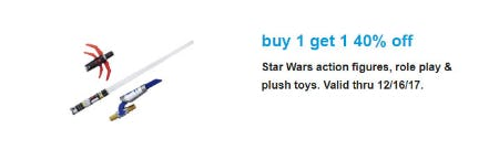 BOGO 40% Off Star Wars Action Figures, Role Play & Plush Toys