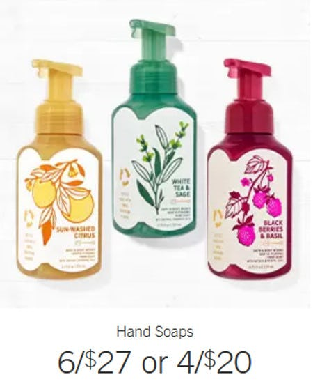 Hand Soaps 6 for $27 or 4 for $20 from Bath & Body Works