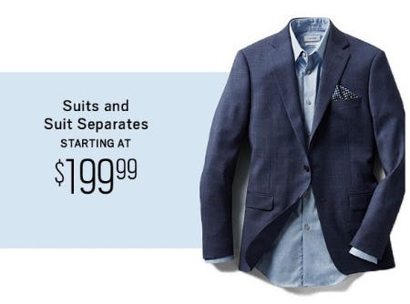 Suits and Suit Separates Starting at $199.99 from Men's Wearhouse