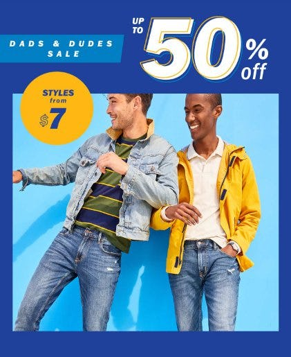 Dads & Dudes Sale up to 50% Off from Old Navy