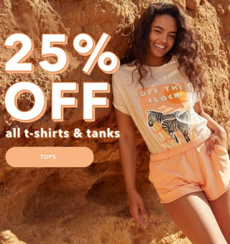 25% Off All T-Shirts & Tanks