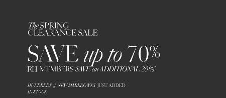 Up to 70% Off The Clearance Sale from Restoration Hardware