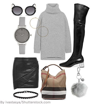 Collage of fashionable clothing and accessories.
