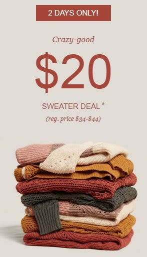 $20 Sweater Deal from maurices