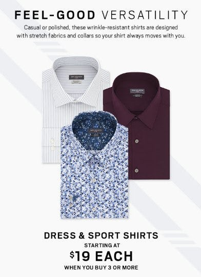 Dress & Sport Shirts Starting at 19 Each When You Buy 3 or More from Men's Wearhouse