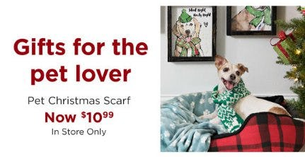 Pet Christmas Scarf Now $10.99 from Kirkland's