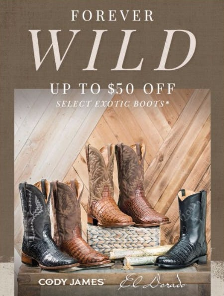 Up to $50 Off Select Exotic Boots