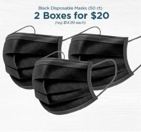 2 Boxes for $20 Black Disposable Masks (50 ct) from The Paper Store
