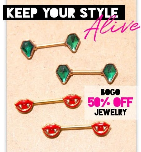 BOGO 50% Off Jewelry from Spencer's Gifts