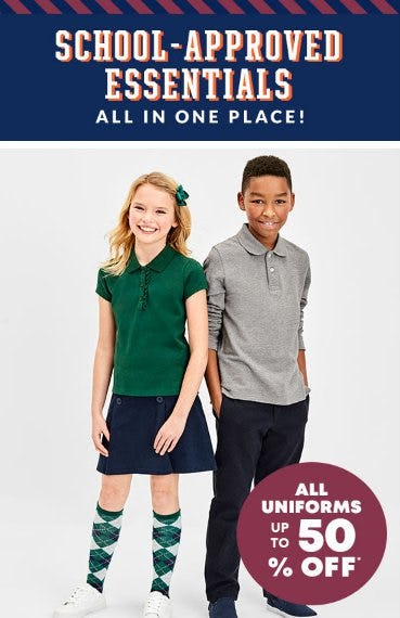 All Uniforms up to 50% Off from The Children's Place