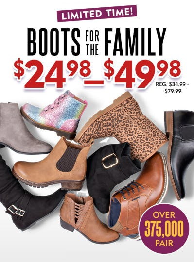 Boots for the Family at $24.98-$49.98 from Shoe Carnival