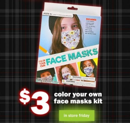 $3 Color your Own Face Masks Kit