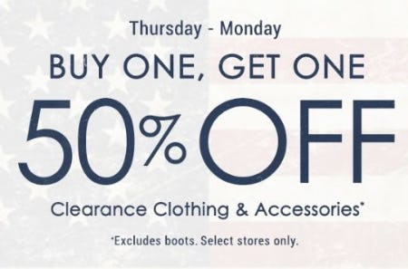 BOGO 50% Off Clearance Clothing & Accessories from Boot Barn Western And Work Wear