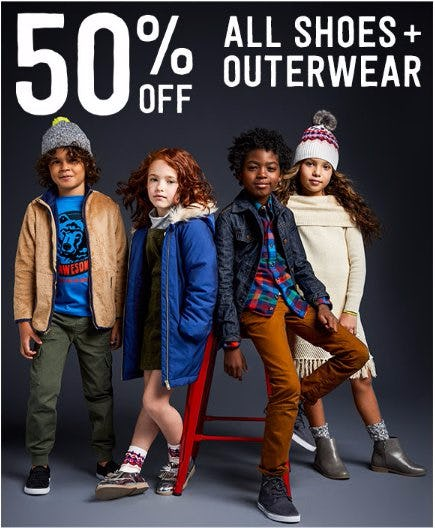 50% Off All Shoes + Outerwear