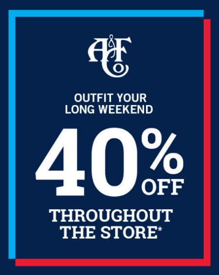 40% Off Select Styles from Abercrombie & Fitch