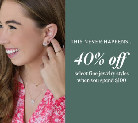 40% Off on Select Fine Jewelry Styles, When You Spend $100